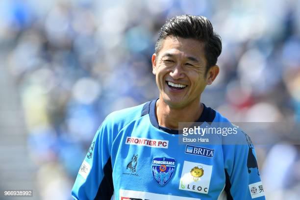 Kazuyoshi Miura of Yokohama FC smiles prior to the JLeague J2 match between Yokohama FC and Tokyo Verdy at Nippatsu Mitsuzawa Stadium on June 3 2018...