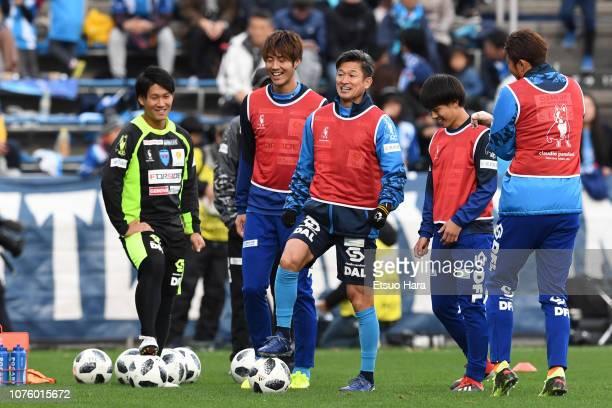 Kazuyoshi Miura of Yokohama FC warms up during the JLeague J1/J2 PlayOff second round match between Yokohama FC and Tokyo Verdy at Nippatsu Mitsuzawa...