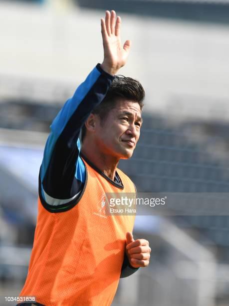 Kazuyoshi Miura of Yokohama FC warms up during the JLeague J2 match between Yokohama FC and Mito HollyHock at Nippatsu Mitsuzawa Stadium on September...