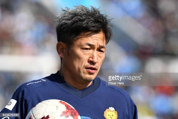 Kazuyoshi Miura of Yokohama FC warms up prior to the JLeague J2 match between Yokohama FC and Matsumoto Yamaga at Nippatsu Mitsuzawa Stadium on...