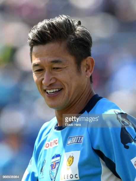 Kazuyoshi Miura of Yokohama FC warms up prior to the JLeague J2 match between Yokohama FC and Tokyo Verdy at Nippatsu Mitsuzawa Stadium on June 3...
