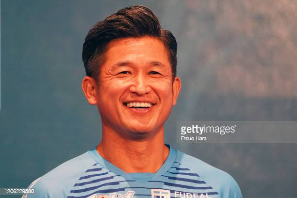 Kazuyoshi Miura of Yokohana FC smiles during the J.League Kick Off Conference on February 14, 2020 in Tokyo, Japan.