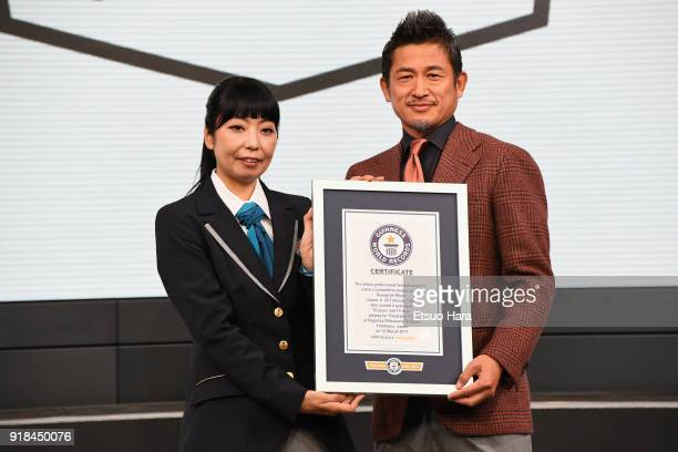 Kazuyoshi Miura receives the Guinness World Record certificate as he is recognised as the 'Oldest professional football player to score a competitive...