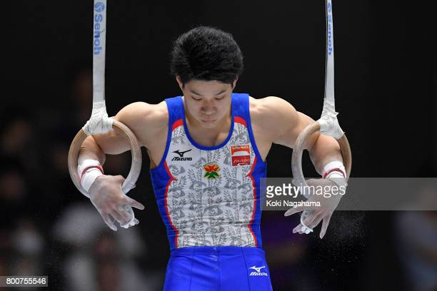 Kazuyuki Takeda competes in the rings during Japan National Gymnastics Apparatus Championships at the Takasaki Arena on June 25 2017 in Takasaki Japan
