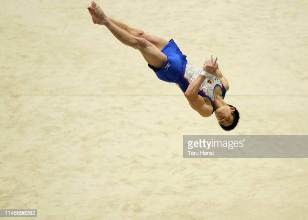 Kazuyuki Takeda competes on the floor during day three of the 73rd All Japan Artistic Gymnastics Individual All-Around Championships at Takasaki...