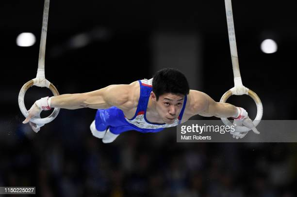 Kazuyuki Takeda of Japan competes on the Rings during day two of the Artistic Gymnastics NHK Trophy at Musashino Forest Sport Plaza on May 19, 2019...