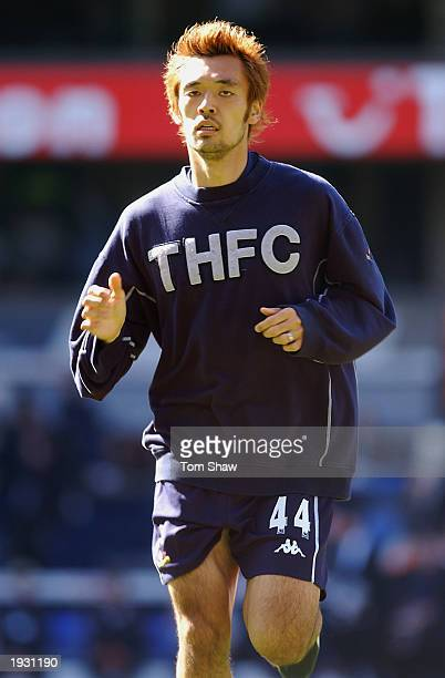 Kazuyuki Tda of Tottenham Hotspur warming up during the Barclaycard Premiership match between Tottenham Hotspur and Birmingham City held on April 5...