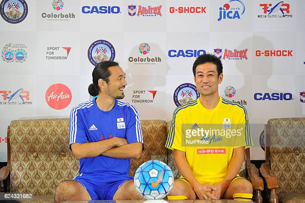 Kazuyuki Toda Coach and Former Japan National Football Player and Ysuke Nozawa Captain sharing memories during Press meet of Exhibition match...