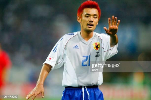Kazuyuki Toda of Japan during the World Cup match between Japan and Belgium in Saitama Stadium in Saitama Japan on June 4th 2002
