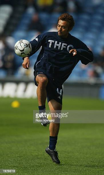 Kazuyuki Toda of Spurs warms up before the FA Barclaycard Premiership match between Leeds United and Tottenham Hotspur at Elland Road Leeds England...