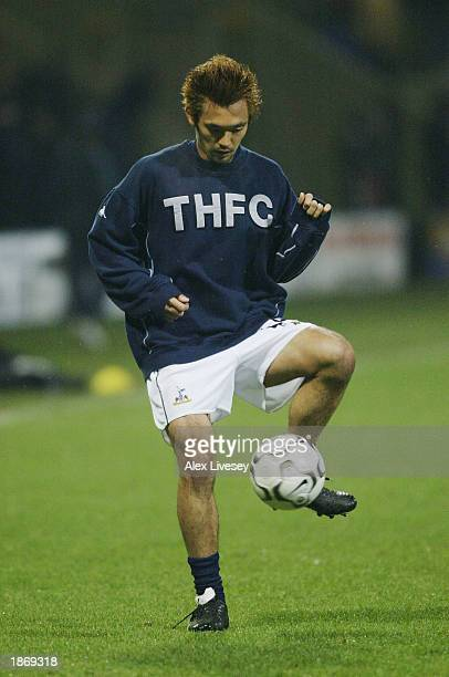 Kazuyuki Toda of Spurs warms up during the Bolton Wanderers v Tottenham Hotspur FA Barclaycard Premiership match at the Reebok Stadium in Bolton...