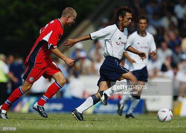Kazuyuki Toda of Tottenham Hotspur runs with the ball during the David Jones testimonial match between Wycombe Wanderers and Tottenham Hotspur held...