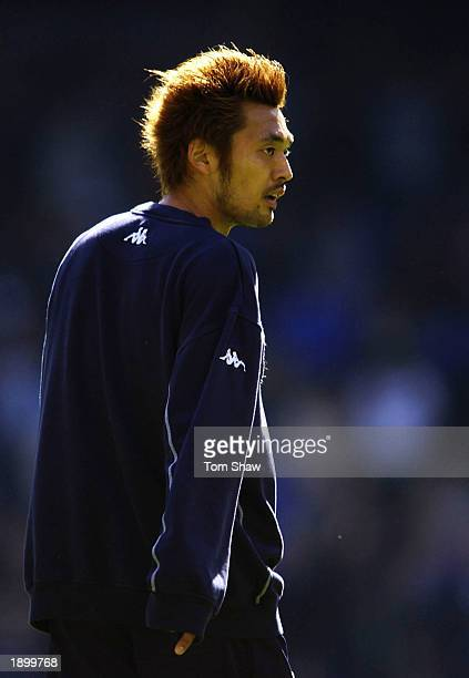 Kazuyuki Toda of Tottenham Hotspur warming up before the Barclaycard Premiership match between Tottenham Hotspur and Birmingham City at White Hart...