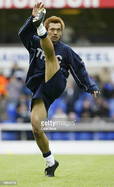 Kazuyuki Toda of Tottenham Hotspur warms up during the FA Barclaycard Premiership match between Tottenham Hotspur and Manchester United on April 27...