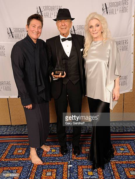 kd lang Leonard Cohen and Judy Collins attend the 41st Annual Songwriters Hall of Fame Ceremony at The New York Marriott Marquis on June 17 2010 in...