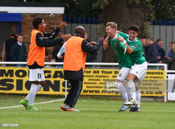 Keagan Cole of Hendon FC celebrates scoring his sides second goal during Bostik League Premier Division match between Billericay Town against Hendon...