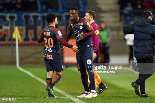 Keagan Dolly and Isaac Mbenza of Montpellier during the Ligue 1 match between Montpellier and Angers at Stade de la Mosson on February 3 2018 in...