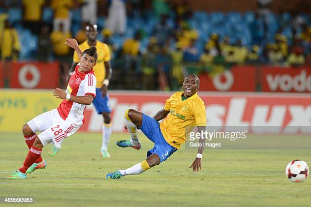 Keagan Dolly of Ajax Cape Town and Elias Pelembe of Mamelodi Sundowns during the Absa Premiership match between Mamelodi Sundowns and Ajax Cape Town...