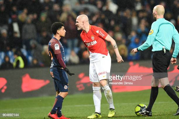 Keagan Dolly of Montpellier and Andrea Raggi of Monaco during the Ligue 1 match between Montpellier and Monaco at Stade de la Mosson on January 13...