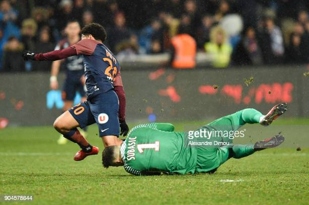Keagan Dolly of Montpellier and Danijel Subasic of Monaco during the Ligue 1 match between Montpellier and Monaco at Stade de la Mosson on January 13...