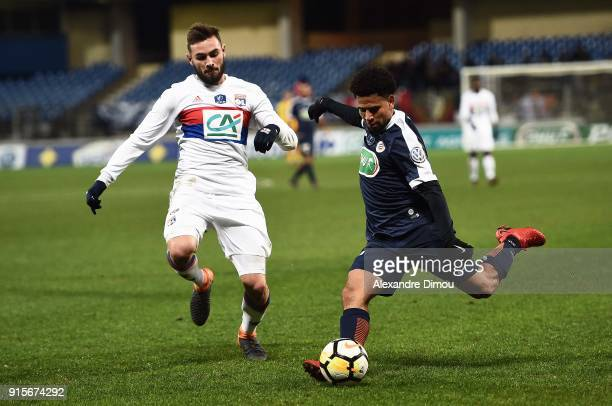 Keagan Dolly of Montpellier and Lucas Tousart of Lyon during the French Cup match between Montpellier and Lyon at Stade de la Mosson on February 7...