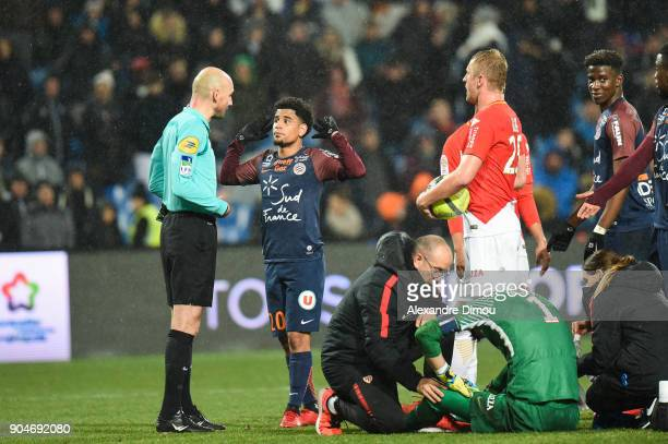 Keagan Dolly of Montpellier during the Ligue 1 match between Montpellier and Monaco at Stade de la Mosson on January 13 2018 in Montpellier France