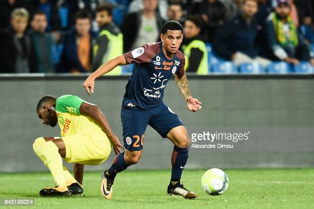 Keagan Dolly of Montpellier during the Ligue 1 match between Montpellier Herault SC and Nantes at Stade de la Mosson on September 9 2017 in...