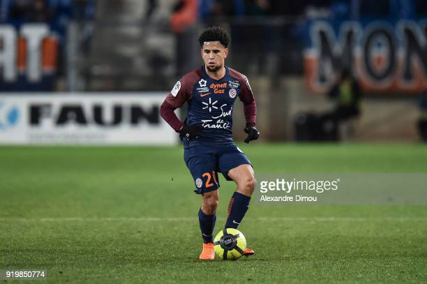 Keagan Dolly of Montpellier during the Ligue 1 match between Montpellier Herault SC and EA Guingamp at Stade de la Mosson on February 17 2018 in...