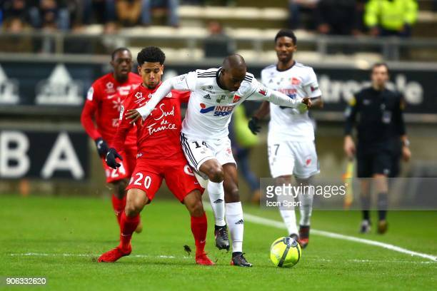 Keagan of Montpellier and KAKUTA Gael of Amiens during the Ligue 1 match between Amiens SC and Montpellier Herault SC at Stade de la Licorne on...