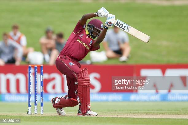Keagan Simmons of the West Indies bats during the ICC U19 Cricket World Cup match between New Zealand and the West Indies at Bay Oval on January 13...