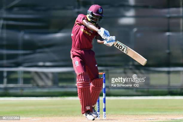 Keagan Simmons of the West Indies bats during the ICC U19 Cricket World Cup match between the West Indies and Kenya at Lincoln Oval on January 20...