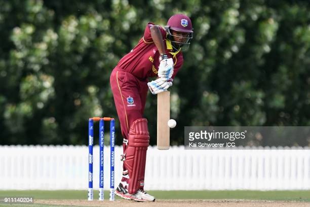 Keagan Simmons of the West Indies bats during the ICC U19 Cricket World Cup Plate Final match between Sri Lanka and the West Indies at Bert Sutcliffe...