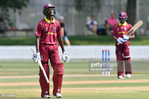 Keagan Simmons of the West Indies looks dejected after being dismissed by Nipun Malinga of Sri Lanka during the ICC U19 Cricket World Cup Plate Final...