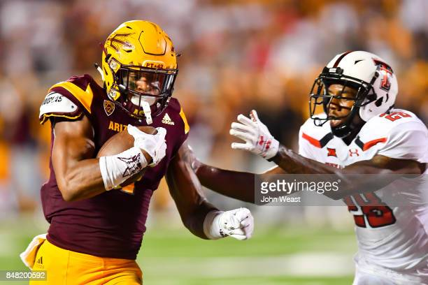Keal Harry of the Arizona State Sun Devils beats Jaylon Lane of the Texas Tech Red Raiders to the end zone during the game on September 16 2017 at...