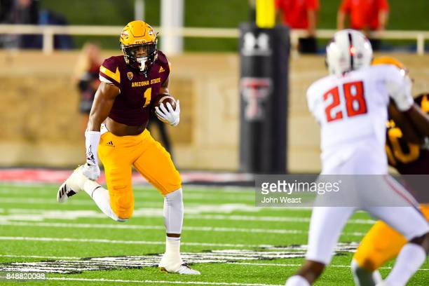 Keal Harry of the Arizona State Sun Devils carries the ball during the game against the Texas Tech Red Raiders on September 16 2017 at Jones ATT...