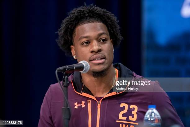 Keal Harry #WO23 of the Arizona State Sun Devils is seen at the 2019 NFL Combine at Lucas Oil Stadium on March 1 2019 in Indianapolis Indiana