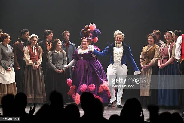 Keala Settle Cliff Saunders and Company during the Broadway Opening Night Curtain Call for Les Miserables at The Imperial Theater on March 23 2014 in...
