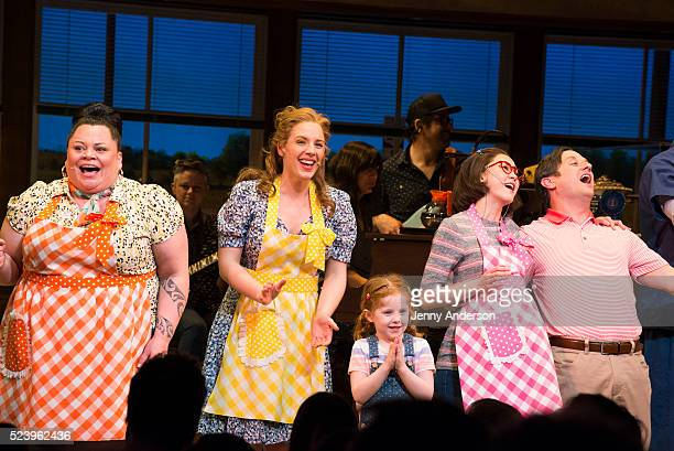 Keala Settle Jessie Mueller McKenna Keane Kimiko Glenn and Christopher Fitzgerald bow during opening night curtain call of Waitress at The Brooks...