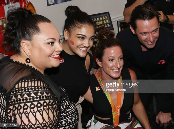 Keala Settle Laurie Hernandez Tatyana Mcfadden and Hugh Jackman attend GOLD MEETS GOLDEN The 5th Anniversary Refreshed by CocaCola Globes Weekend...