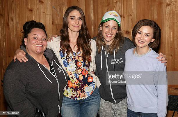 Keala Settle Sara Bareilles Jessie Mueller and Kimiko Glenn pose at the Waitress Original Broadway Cast Album Recording at MSR Studios in Times...