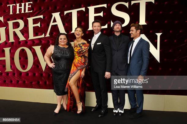 Keala Settle Zendaya Hugh Jackman Michael Gracey and Zac Efron attend the Australian premiere of The Greatest Showman at The Star on December 20 2017...