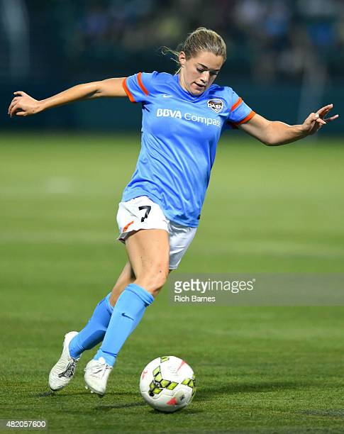 Kealia Ohai of the Houston Dash controls the ball against the Western New York Flash during the second half at Sahlen's Stadium on July 25 2015 in...