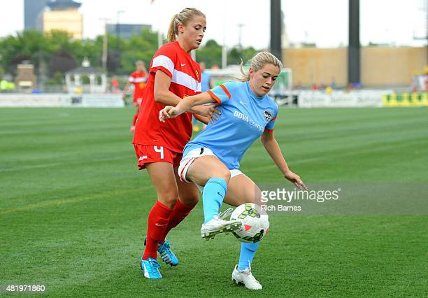 Kealia Ohai of the Houston Dash controls the ball in front of Abigail Dahlkemper of the Western New York Flash during the first half at Sahlen's...
