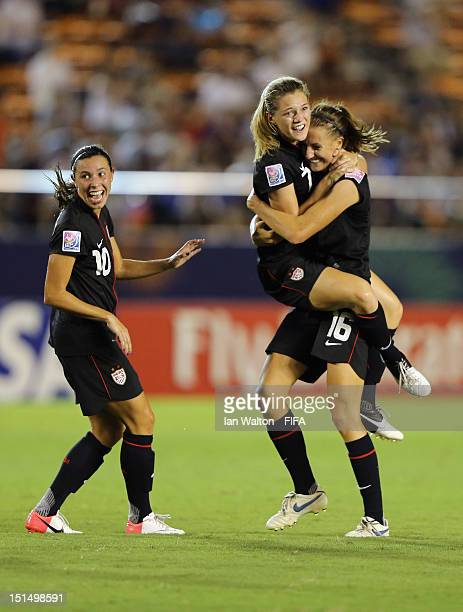 Kealia Ohai of the USA celebrates scoring the first goal during the FIFA U20 Women's World Cup Final match between USA and Germany at the National...
