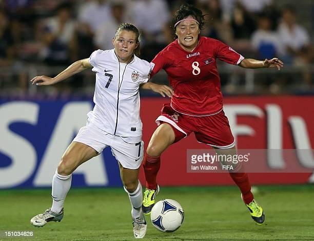 Kealia Ohai of the USA competes for the ball with Jon Myong Hwa of Korea DPR during the FIFA U20 Women's World Cup QuarterFinal match between Korea...