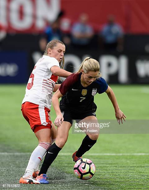 Kealia Ohai of United States controls the ball against Noelle Maritz of Switzerland during the second half of the friendly match on October 23 2016...