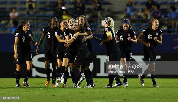 Kealia Ohai of USA celebrate with her team mates after she scores her team's opening goal during the FIFA U20 Women's World Cup Japan 2012 Final...