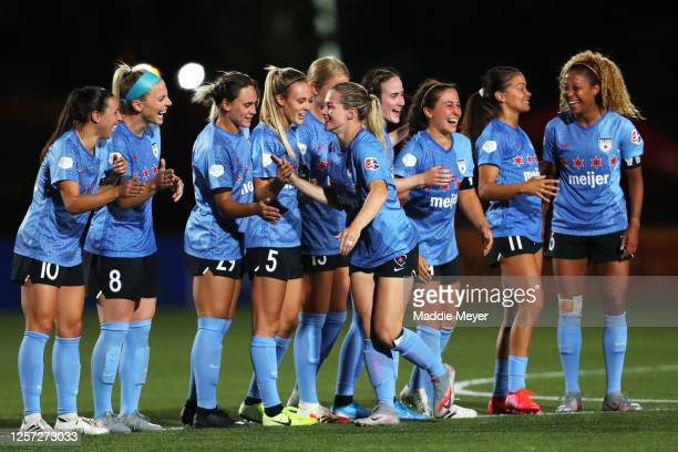 Kealia Watt of Chicago Red Stars celebrates with teammates after scoring a penalty kick during the quarterfinal match of the NWSL Challenge Cup at...