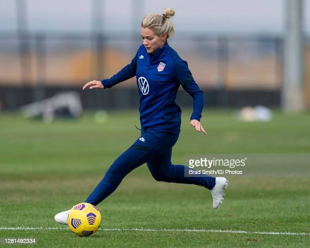 Kealia Watt of the USWNT dribbles during a training session at Dick's Sporting Goods Park training fields on October 20 2020 in Commerce City Colorado