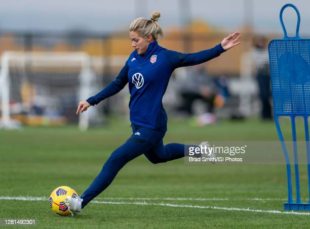 Kealia Watt of the USWNT takes a shot during a training session at Dick's Sporting Goods Park training fields on October 20 2020 in Commerce City...